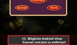 Beispiel eines Scareware-Ads in einem Game aus Google Play