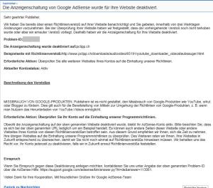 Mail von Google droht mit Deaktivierung von AdSense