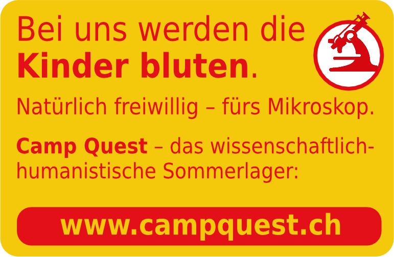Bei uns werden die Kinder bluten. Aber freiwillig - und nur fürs Mikroskop. Campquest.ch