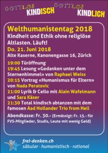 Gottlos kindisch/Gottlos kindisch - Motto zum Welthumanistentag 2018 in Zürich